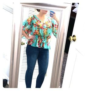 Gathered waist silky floral top